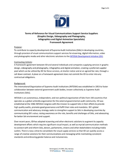 IDI Frame Agreement Visual Communications Support Service Suppliers