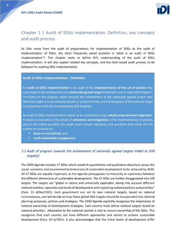 ISAM Chapter 1: Audit of SDGs implementation - Definition, key concepts and audit process