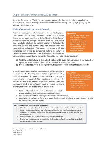 TAI audit guide chapter 8 Report for impact